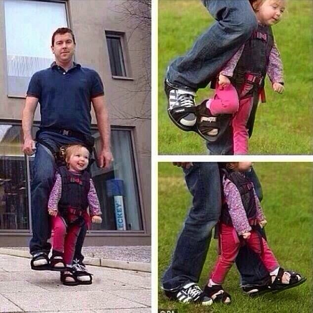 A dad designs shoes to give his paralyzed daughter the sensation of walking. Well played sir, she's so happy.