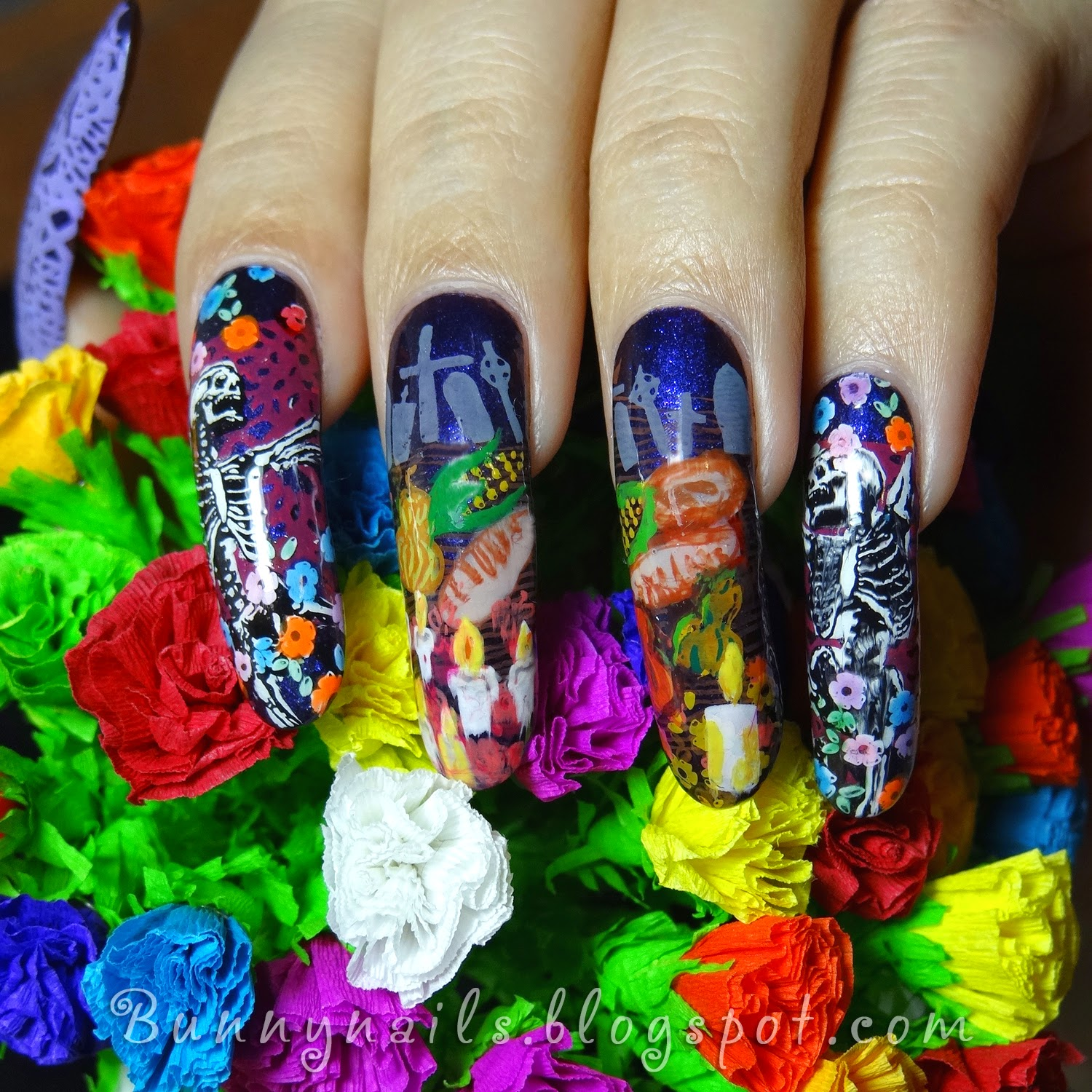 Bunny Nails: Nail Art for Día de muertos - Day of the Dead