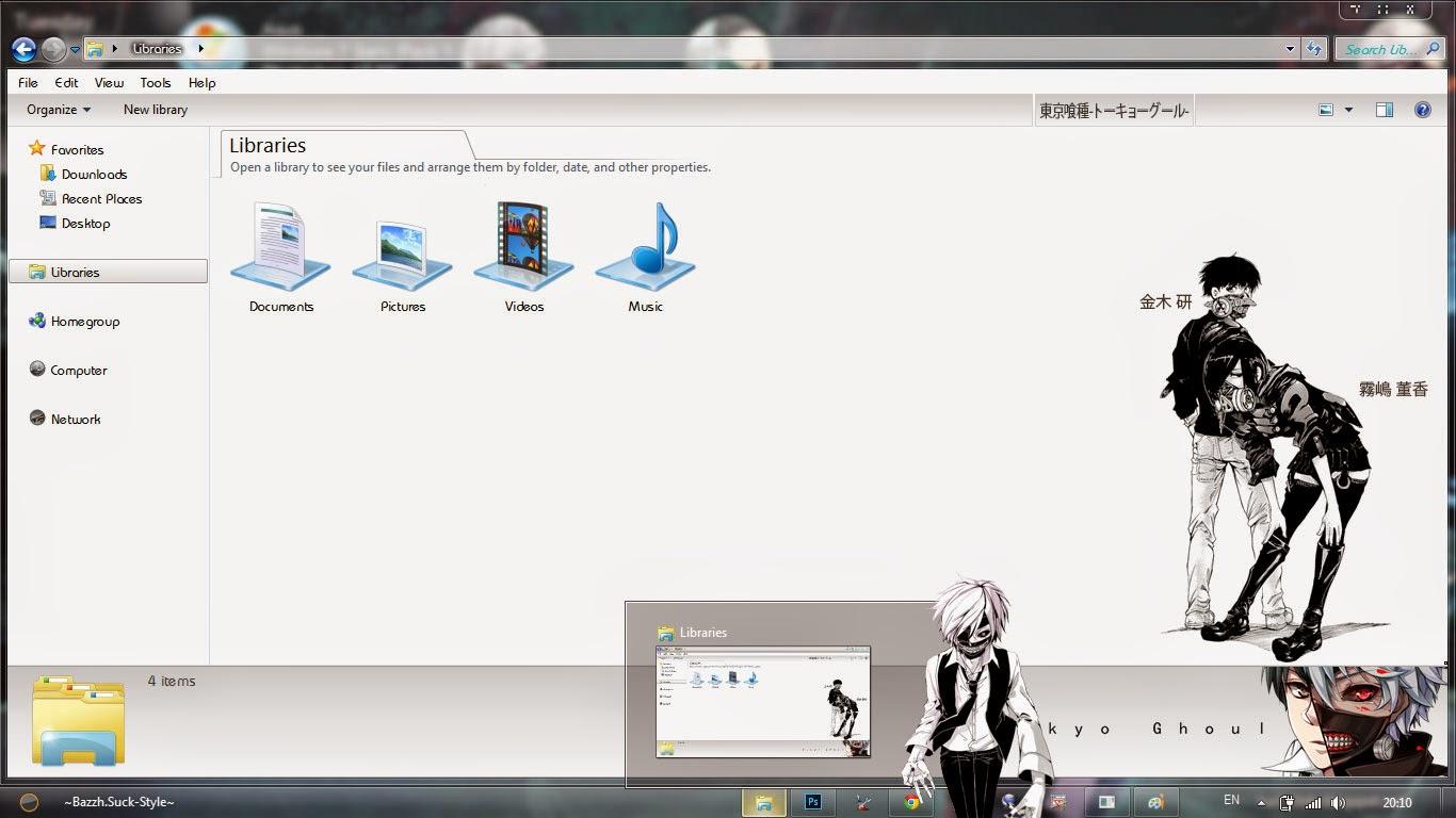 Tema Tokyo Ghoul Windows 7 By Bashkara - Anime Hitto