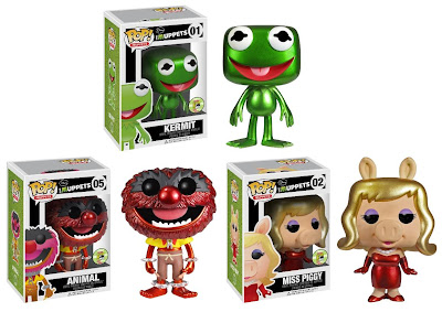 San Diego Comic-Con 2013 Exclusive Metallic The Muppets Pop! Vinyl Figures by Funko - Kermit the Frog, Animal & Miss Piggy