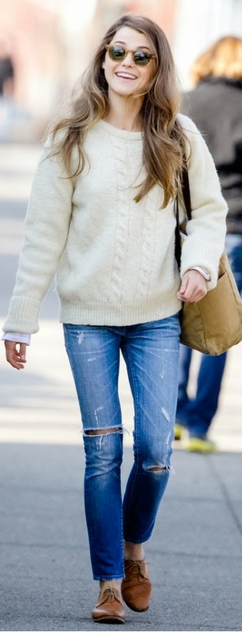 Outfit post cream cable knit sweater bootcut jeans brown flats | Outfit Posts