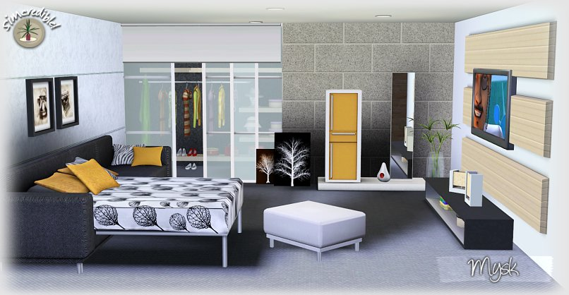 Empire sims 3 mysk bedroom set by simcredible designs for Sims 3 bedroom designs