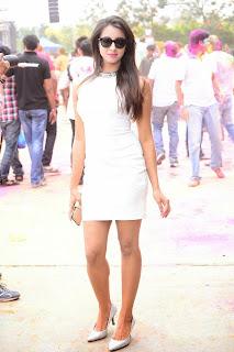 Sanjana at Bang Bang Holi Celeberations in Lovely Short White Dress