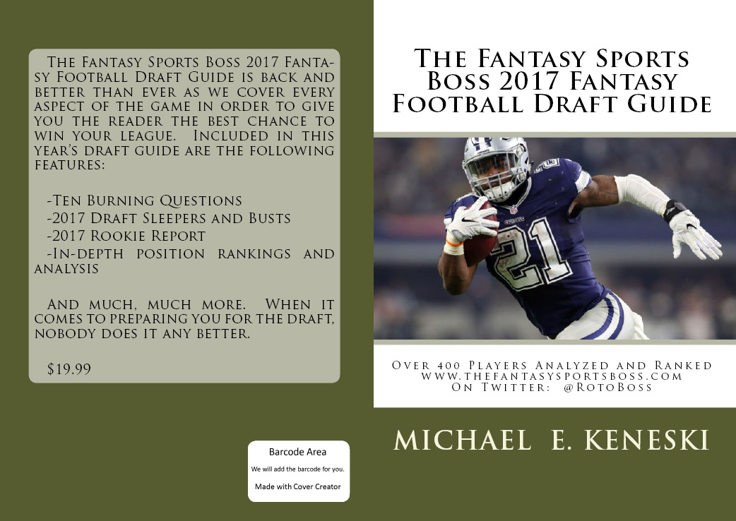 PURCHASE THE 2017 FANTASY SPORTS BOSS FANTASY FOOTBALL DRAFT GUIDE FOR JUST $19.99