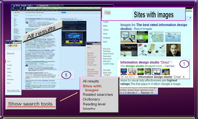 "Image shows how to find WEB-search option ""Sites with images"" and how the WEB-site ""Information design studio ""Orius"" has become best rated owing best information design images"
