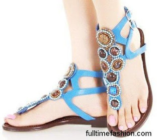 Flat Shoes In Sky Blue Colour
