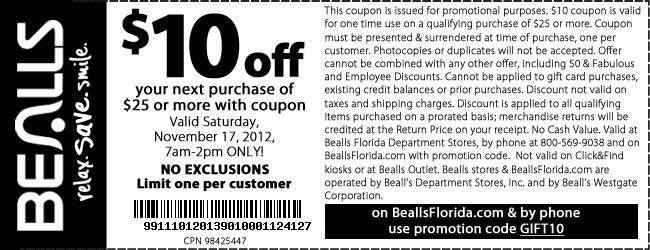 image about Bealls Printable Coupons identified as Bealls inside of retailer discount codes - Gnc within retail store coupon august 2018
