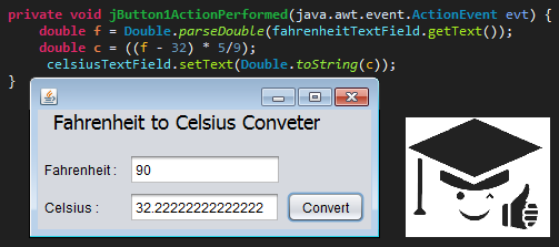 Fahrenheit to Celsius converter in Java with GUI