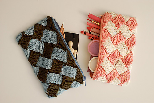 pencil pocket entrelac knitting