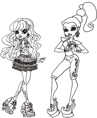 Free printable monster high coloring pages twyla and gigi for Monster high coloring pages 13 wishes