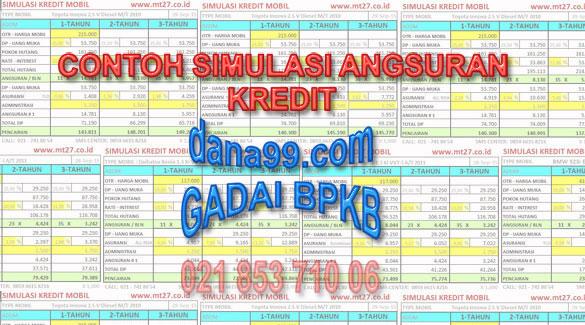 Contoh Simulasi Angsuran Kredit Pinjaman Dana Jaminan Gadai BPKB Mobil