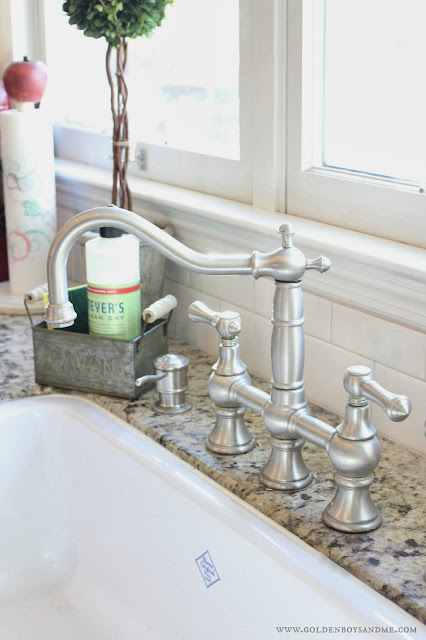 Graff bridge faucet with Shaw farm sink-www.goldenboyandme.com