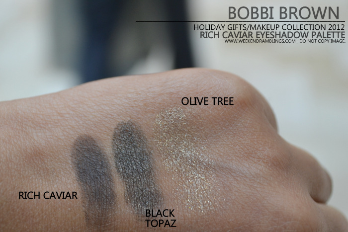 Bobbi Brown Rich Caviar Eyeshadow Palette Holiday 2012 Gifts Makeup Collection Indian Beauty Blog Darker Skin Swatches Black Topaz Metallic Olive Tree Sparkle