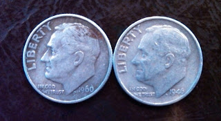 1946 1960 Silver Roosevelt Dimes found searching coin rolls coin roll hunting