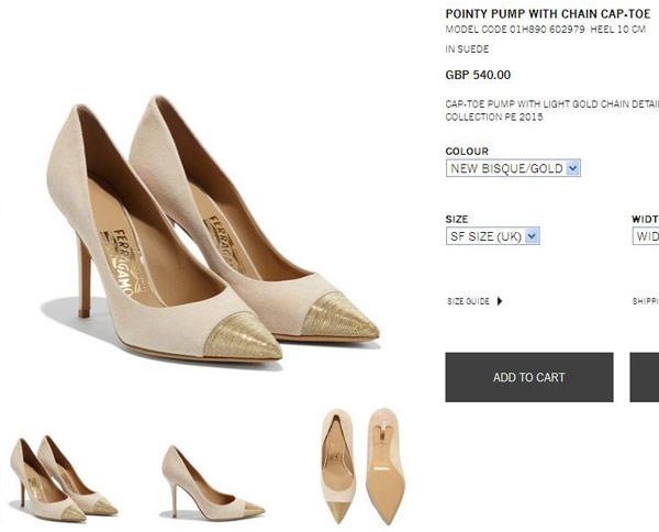 Đôi giày cap-toe pha trộn chất liệu da lộn và xích kim loại siêu mảnh là sản phẩm của nhà mốt Salvatore Ferragamo, có giá 540 bảng Anh (hơn 17 triệu đồng).