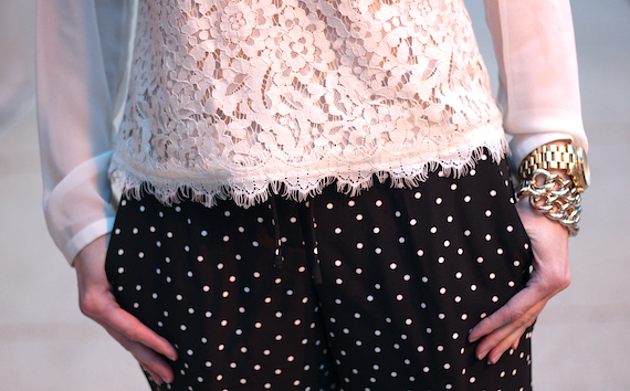 Scalloped Cream Lace with Polka Dots | StyleSidebar