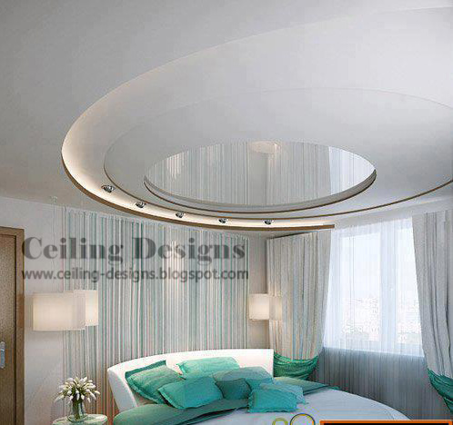 Bedroom on Spiral Bedroom Ceiling Designs From Gypsum With Mirrors And Lights
