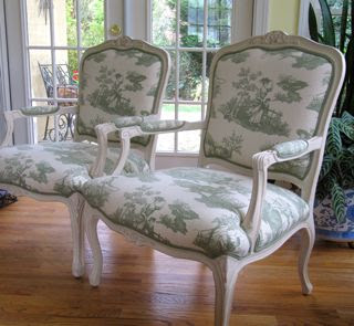 French Style Chairs Upholstered In Toile De Jouy Fabric   See EBay Listing