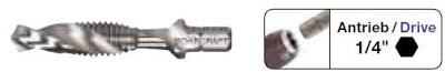 """Mũi taro máy chuôi lục giác 1/4"""" HSS ren M BC Norm"""