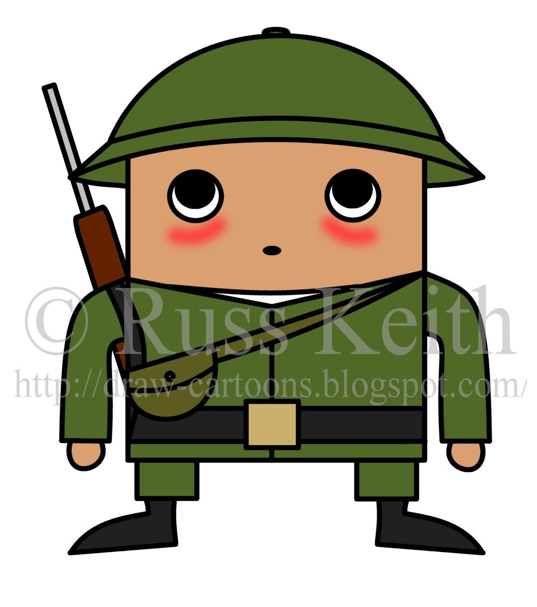 how to draw cartoons  chibi soldier