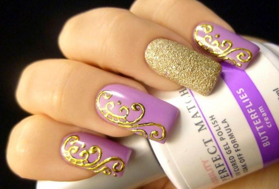 Гель ногти дизайн с золотом
