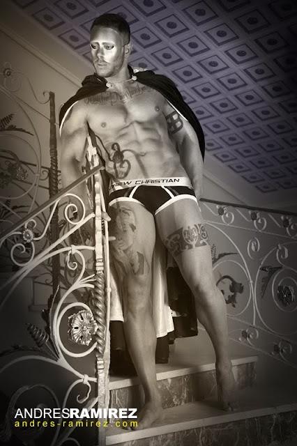 Sexy model Esteban Martinez in Andrew Christian underwear