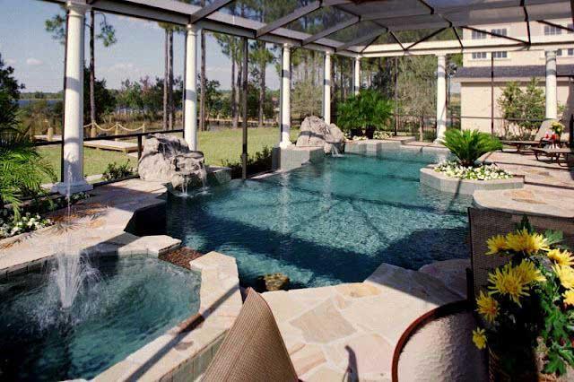 rumah minimalis modern desain kolam renang dalam dan luar