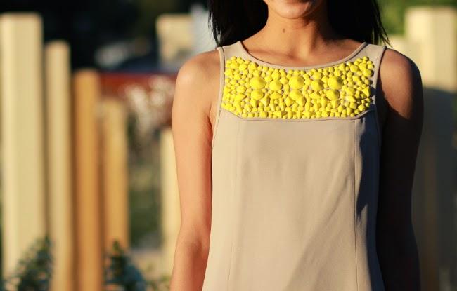 embellished beaded neck shift dress