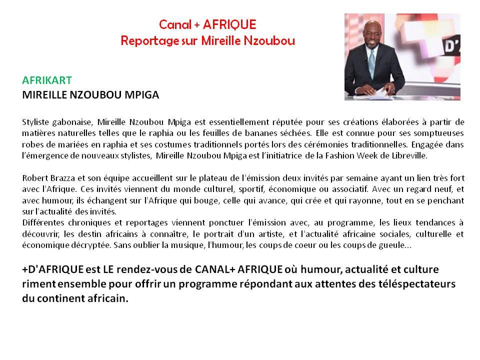 Mireille  Nzoubou sur Canal+ Afrique