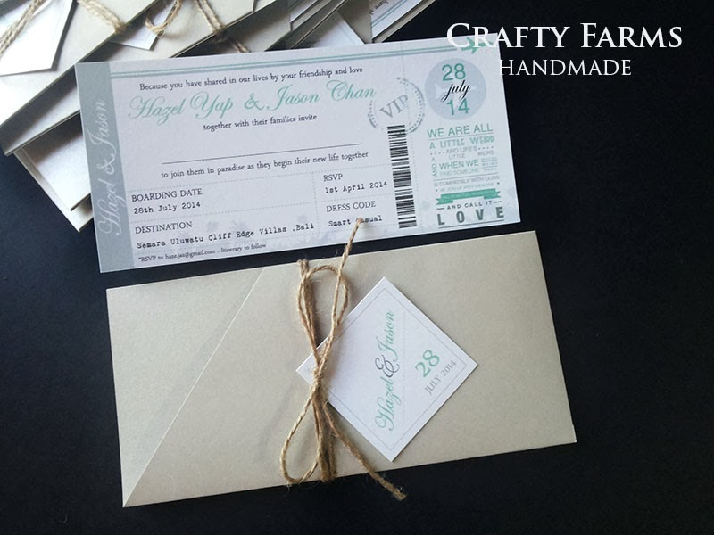 Wedding Card Malaysia | Crafty Farms Handmade : Silver Boarding Pass ...