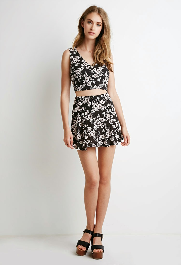Forever 21 Matching Floral Gauze Crop Top and Buttoned Skirt Set