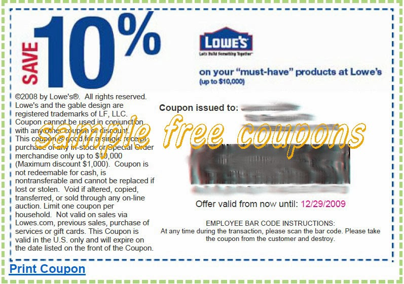 Lowe's Coupon Code 2014
