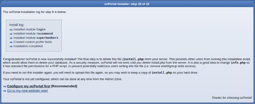 install ocportal step 10