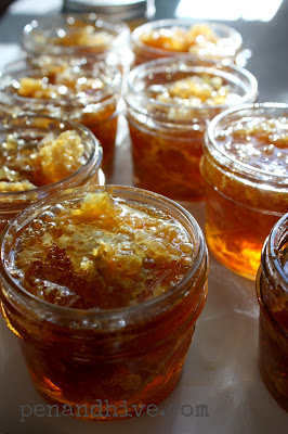 raw honeycomb in a jar