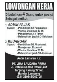 Lowongan Kerja Lampung PT. LIMA SAUDARA PRIMA