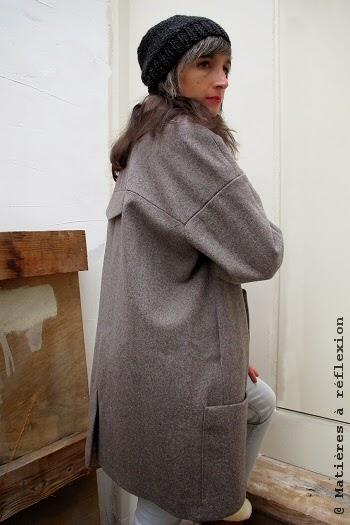 Paletot manteau en laine taupe Karine Jean