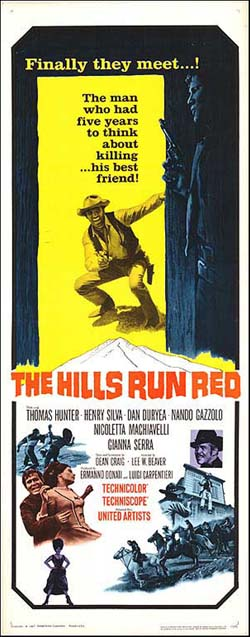 The Hills Run Red Film Poster Starring Thomas Hunter and Henry Silva