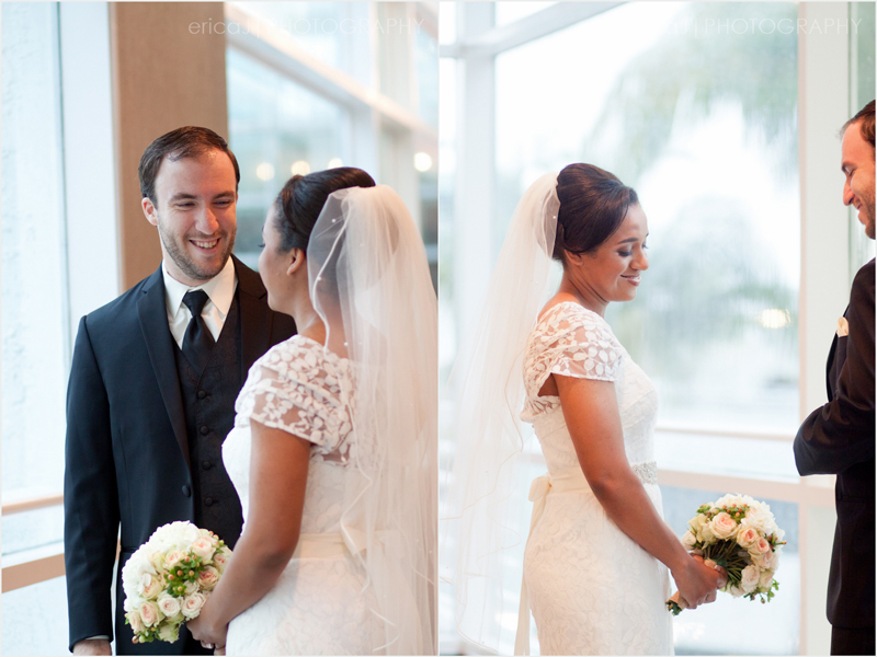 bride and groom first look moment