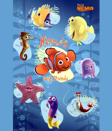 Disney animals nemo dory turtle and friends character for Finding nemo fish names