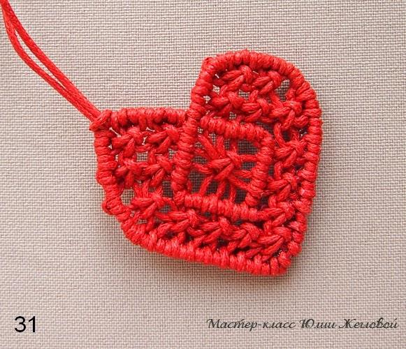 Плетёное сердечко в технике макраме. МК.