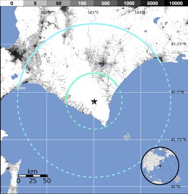 Epicentro sismo 5,9 grados Japón, 25 de Agosto 2012