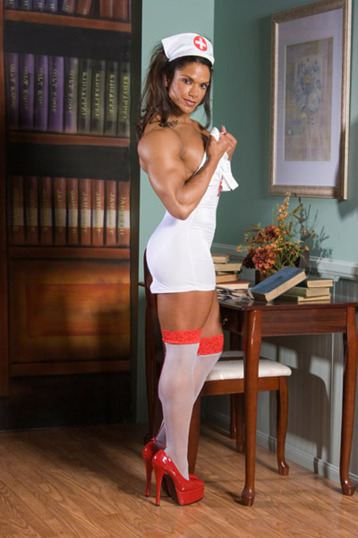 Female Bodybuilder Michelle Baker As A Hot, Muscular Nurse