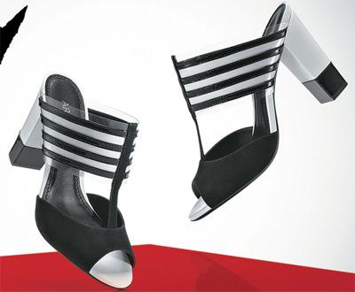 sandálias de salto P&B listras Arezzo