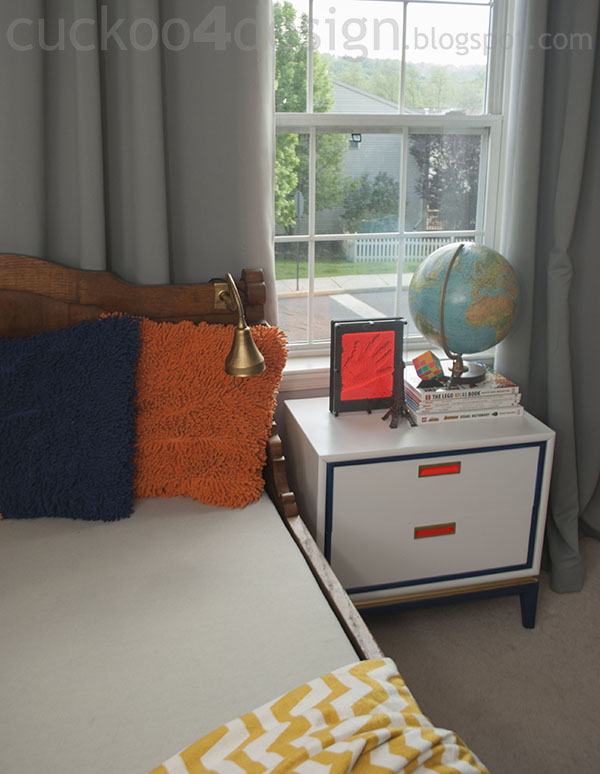 midcentury modern nightstand makeover in boysroom