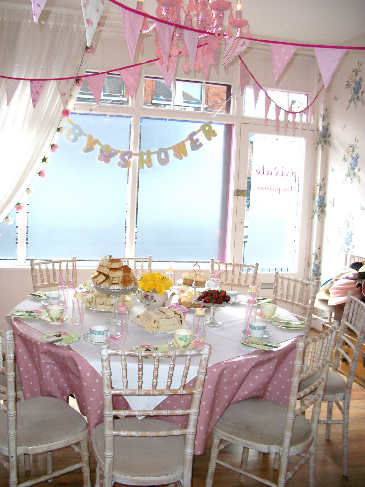 having afternoon tea can be themed pink or blue pink blue and