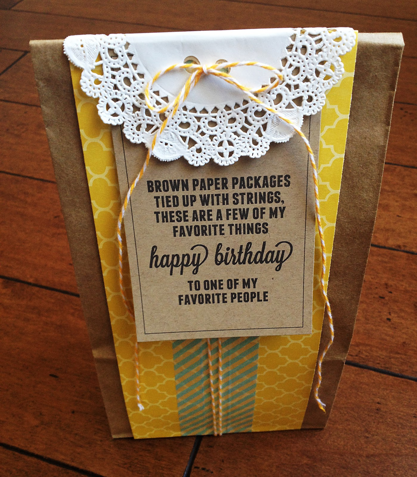 Ways to decorate gift bags -  Birthday Week Brown Paper Packages