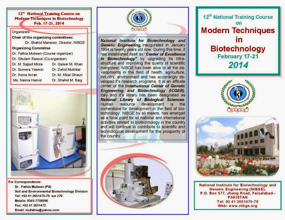 12th National Training Course on Modern Techniques in Biotechnology
