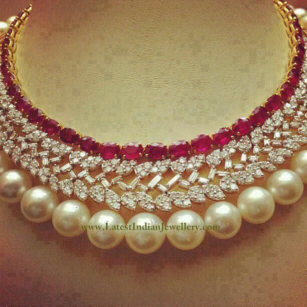 Ravishing Ruby Diamond Pearl Necklace