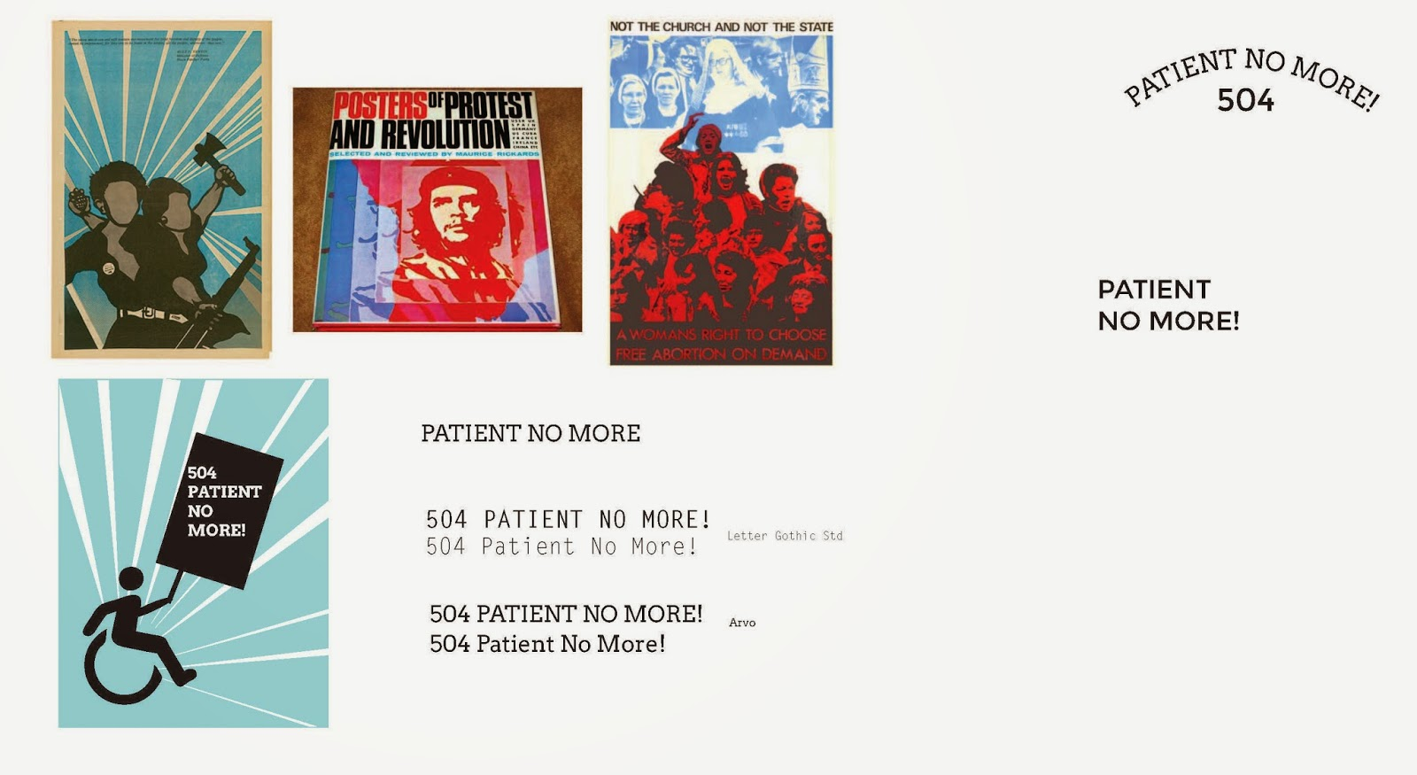"posters of 1970's social movements, type treatments of ""Patient No More!"""