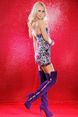 Purple Faux Suede Zipper Side Thigh High Boots